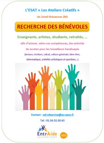L'ESAT Les Ateliers Créatifs recherche des bénévoles
