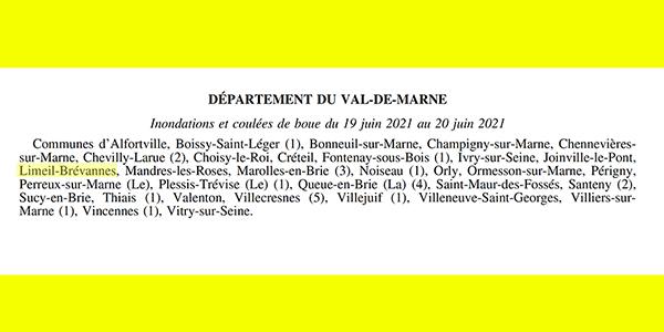 Limeil-Brévannes reconnue en état de catastrophe naturelle